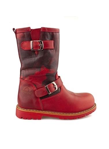 Cici Bebe Ayakkabı Deri Kız Çocuk Bot Kırmızı